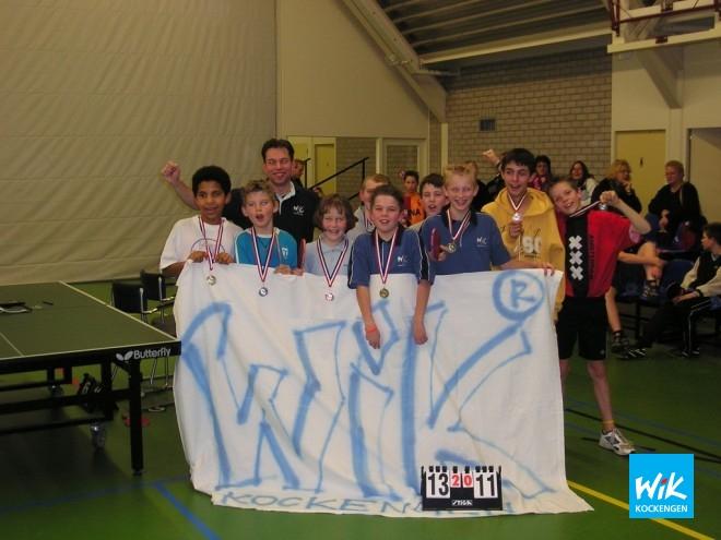 Op foto de prijswinnaars van het jeugdstreektoernooi. V.l.n.r. de pupillen, aspiranten en junioren.
