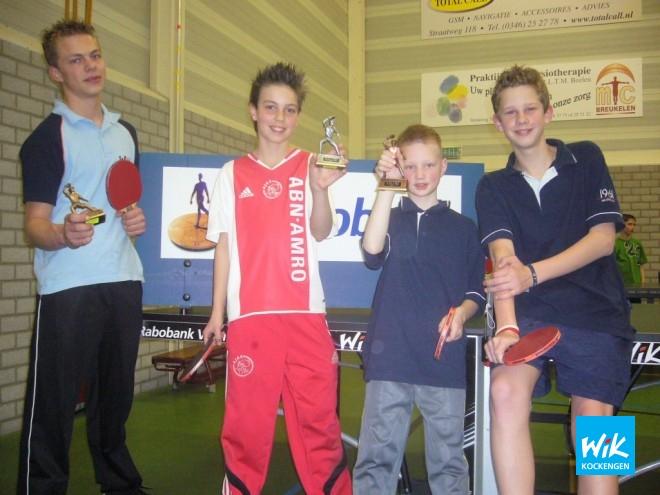 De prijswinnaars in poule B met v.l.n.r. Hendrik Zagt, Rick Manten, Bas Hoogendoorn en Freek van Vuuren tonen vol trots hun trofee.