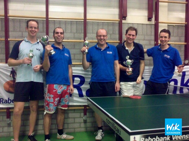 De prijswinnaars van WIK. V.l.n.r. Tim van Weerdenburg , Alex de Hoop, Justus Romijn en clubkampioen Frank Struijk.