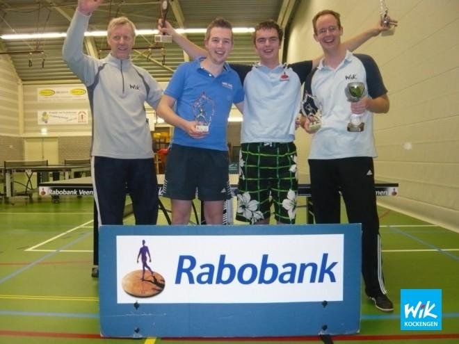 De hoofdrolspelers tijdens de clubkampioenschappen van WIK. V.l.n.r. Hans de Rijk, Johannes Fitzer, Mark Boele en Tim van Weerdenburg.